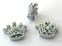 Partihandel 10mm 100st / Lot Rhinestones Crown Slide Charm DIY Tillbehör Passa för 10mm läderarmband armband
