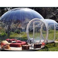 خيمة قابل للنفخ فقاعة قبة منزل في الهواء الطلق عرض واضح مع نفق واحد للتخييم للصديقة للبيئة الحجم: 3mx5m (قطر × طول)