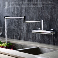 Wholesale- HPB Contemporary Brass Folding Kitchen Mixer Tap Sink Faucet Wall Mounted Single handle Single Hole Hot and Cold Water HP4010