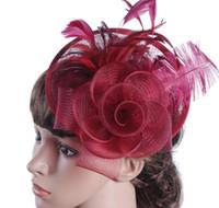 Горячая распродажа европейская дама шляпа мА пряжа страус волос материал западная банкетная шапка свадьба головной убор бесплатная доставка