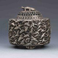 Vintage Orientalische Volkskunstsammlung Alte Tibet Silber Zenser Handgeschnitzte Kran Weihrauchbrenner Schildkröte Deckel G756
