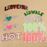 10 pezzi lettere patch per abbigliamento paillettes patch parches ropa glitter ricamato jeans giacca tessuto patchwork appliques abbigliamento accessori