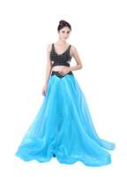 Modabelle una línea de organza vestidos de noche de dos piezas vestidos de baile de personalización avanzada traje formal vestido de fiesta