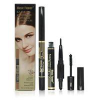 3 in 1 Shadow Eye Brow Makeup Set Waterproof Kajal Eyebrow Pencil Pen + Eyebrow Powder Palette + Cream Eyebrow Gel Mascara New