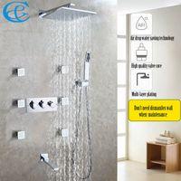 공기 방울 물 절약 욕실 샤워 꼭지 세트 쉬운 설치 비 목욕 샤워 헤드 따뜻한 것과 차가운 믹서 수도꼭지 밸브