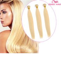 Lujo Rubio 613 remy de color tramas de cabello paquetes brasileño indio armadura del pelo humano de seda color teñido libre DHL