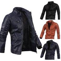 Men Motorcycle Black Male Leather Jackets Button Zipper Biker Pilot Sheepskin Coat Hot Sale M-2XL high quality
