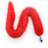Doux Fluffy 76cm en fausse fourrure noire Red Cat Tail Fiche érotique Fox Tail Plug Anal Toys Butt Métal Acier inoxydable pour les femmes adultes Produits de sexe