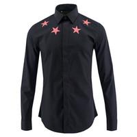 Großhandel luxus stern gedruckt männer hemd chemise homme marke mode 2017 langarm-shirt männer drehen unten kragen dünne baumwolle mens shirts