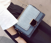 2017. Lock catch. Small. Mini. New pattern. Fashion casual bag. Denim. Metal chain. Women's Bags. Girl. Cross Body.Shoulder Bags. Soft.