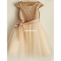 Cheap Champagne Sequins Flower Girls Dresses 2019 Jewel Neck A Line Tulle Girls Birthday Party Gowns