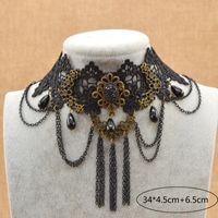 도매 - 고딕 Steampunk 블랙 꽃 레이스 초커 목걸이 Bijoux 쥬얼리 패션 목걸이 여성을위한