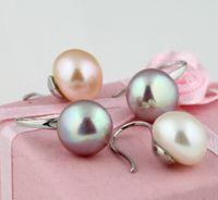 fino natural 9-10mm mar del sur blanco rosa púrpura pendientes de perlas 3 par / lote