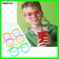 Funny DIY Colorful Drinking Straws Plastic Glass Design Drin...