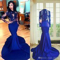 Lange Ärmel Spitze Abschlussball Kleid Meerjungfrau Stil High Hals Durchsichten Spitze Applikationen Sexy Royal Blue Afrikanische Party Abendkleider 2019