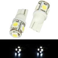 2Pc 6000K lumière blanche / rouge T10 intérieur / plaque d'immatriculation ampoule xénon SMD 5-LED M00018