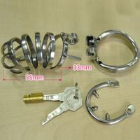 BDSM106-2 Волшебный замок новые устройства целомудрия с шипом анти-офф кольцо из нержавеющей стали маленький мужской целомудрие петух клетка