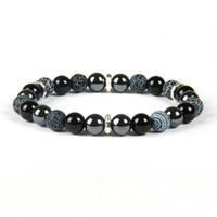 Top Qualität Herren Chakra Armband Großhandel 8mm Mix Weatring und Schwarz Onyx Stein Perlen Armbänder für Geschenk