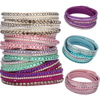 2017 New Fashion Multistrato Wrap Bracciali Slake Deluxe Braccialetti di Fascino In Pelle Con Cristallo Scintillante Donne Sandy Beach Fine Jewelry Regalo