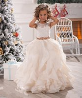 New Pretty Mint Ivory Lace Tulle Flower Girl Dresses Birthda...