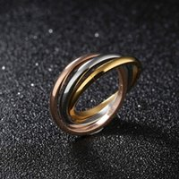 Fashion Womens Titanium Stainless Steel Rings Dome Tri Roll ...