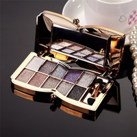 Professional Eye Makeup 10 Colors Eyeshadow Palette Gold Smo...