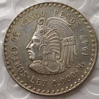 Sirkülasyona 1947 veya 1948 Meksika 5 Peso Gümüş Yabancı Kopya Paralar Yüksek Kalite Pirinç Zanaat Süsler