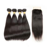 Capelli vergini peruviani con chiusura 4 Bundles tessuto dei capelli umani con 4 * 4Closure fasci di capelli lisci peruviani con chiusura in pizzo