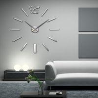 Wholesale 2016 New Item DIY 3D Clock Home Decor Wall Quartz Acrylic Mirror Stickers 20 Inch Clocks For Living Room
