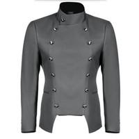 그레이 맨 정장 재킷 만다린 칼라 더블 브레스트 신랑 턱시도 자켓 단색 웨딩 groomsman 정장 재킷