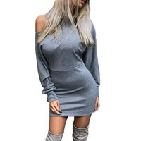 Nadafair Sexy Off Shoulder Long Sleeve Mini Bodycon Club Dre...