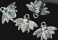 150pcs tibetische silberne süße Biene bezaubert 16x21mm A742