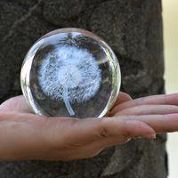 홈 장식 크리스탈 공 3D 공장 민들레 표본 크리 에이 티브 풍수 장식 유리 공 웨딩 장식 공예