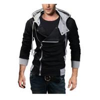 Wholesale-Asian Größe M-6XL Plus Size Kapuzenjacke Männer 2016 Neue Ankunft Sportswear Assassins Creed Männer Reißverschluss Hoodies und Sweatshirts