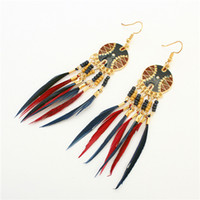 Christmas Gift 4 colors Disc feather tassel earrings Female ...