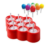 Ice Lolly Mold Silicona Mini Ice Pops Molde Ice Cream Ball Lolly Maker Moldes para paletas con 9 Cavidad DIY Herramientas de cocina