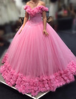 2020 Hot Pink Quinceanera Ball Gown Dresses Off Shoulder Cap...