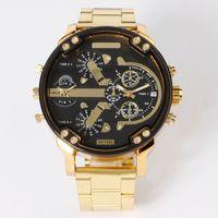 패션 브랜드 7333 남자의 빅 케이스 골드 스테인레스 스틸 밴드 쿼츠 손목 시계 전체 로고