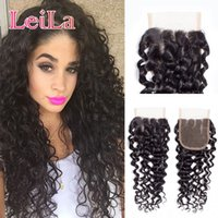 Brazilian Deep Wave 4X4 Lace Closure Middle Free Three Part ...