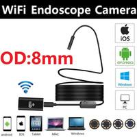 8mm 2.0MP iOS Android Wifi HD Endoskop 1 m / 3 m / 5 m / 7 m / 10 m Yumuşak kablo mini kamera Borescope boru kamera Yılan Kamera araba muayene