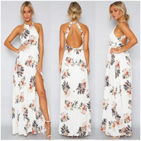 Sexy sleeveless backless halter Bohemian beach maxi dresses ...