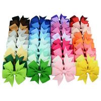 40 Farben Baby Grosgrain Ribbon Bögen mit Clip Girls 'Boutique Pin Rad Haar Clip Kinder Haarschmuck