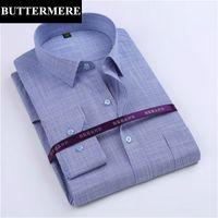 도매 - BUTTERMERE 브랜드 남성 패션 셔츠 대나무 패브릭 코튼 긴 소매 복장 셔츠 정식 착용 비즈니스 파티 셔츠 Camisa Social