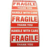 500 stücke Verpackung Warnung Stikus Zerbrechlicher Griff mit Pflege mit danken Ihnen Versandetikett Aufkleber 1 Rolle 2x3 Zoll (51 x 76mm)