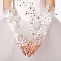 Brand New Brauthandschuhe Fingerlose Hochzeit Handschuhe mit Bogen für Hochzeitskleid Elegant Weiß / Elfenbein Prinzessin Hochzeit Zubehör