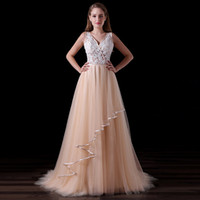 Real Photos Champagne V Neck Prom Evening Dresses Girls Tulle Illusion Appliques Backless Party Gowns A014