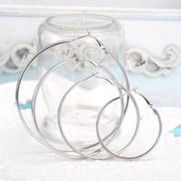 Высокое качество 925 серебро / золотые дутые серьги обруча большого диаметра 6-10CM партии способа ювелирных изделий довольно мило Рождественский подарок