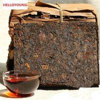 Promosyon 250g Yunnan Premium Klasik Olgun Puer Tuğla Krem Organik Doğal Pu'er Çay Yaşlı Ağaç Pişmiş Pu'er Çay Bambu Kabuk Paketleme