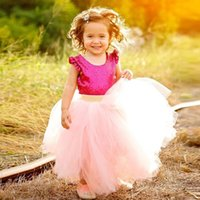 Dusty Pink Wedding Flower Girls' Skirt Ribbon Tiered Tu...