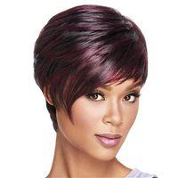 Ucuz Kısa Bob Peruk Düz Kabarık Koyu Kırmızı Şarap Bordo Sentetik Saç Peruk Kadınlar için Yan Patlama Peruk